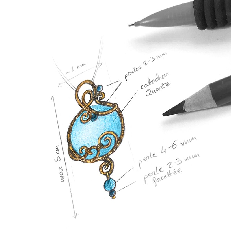 Croquis pour un bijou wire wrapping sur mesure