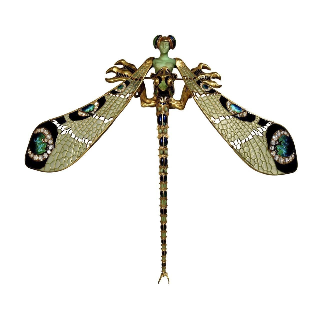 Bijou Art Nouveau - Broche Femme libellule, René Lalique