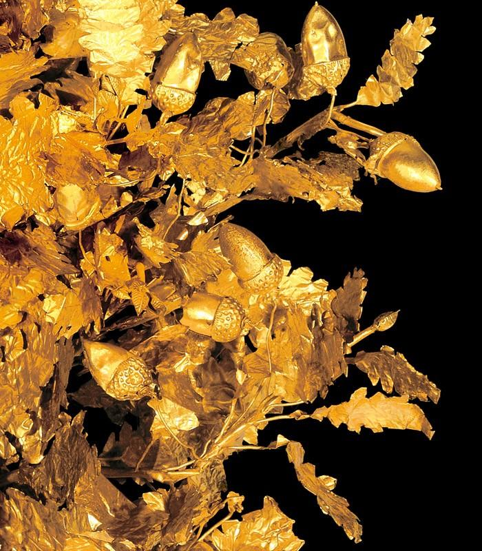 Bijoux de la Grèce antique - Détails de la couronne de feuille en or
