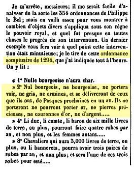 Extrait de l'ordonnance somptuaire de Philippe le Bel, de 1294