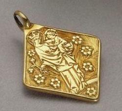 Bijoux médiéval - pendentif religieux en forme de losange
