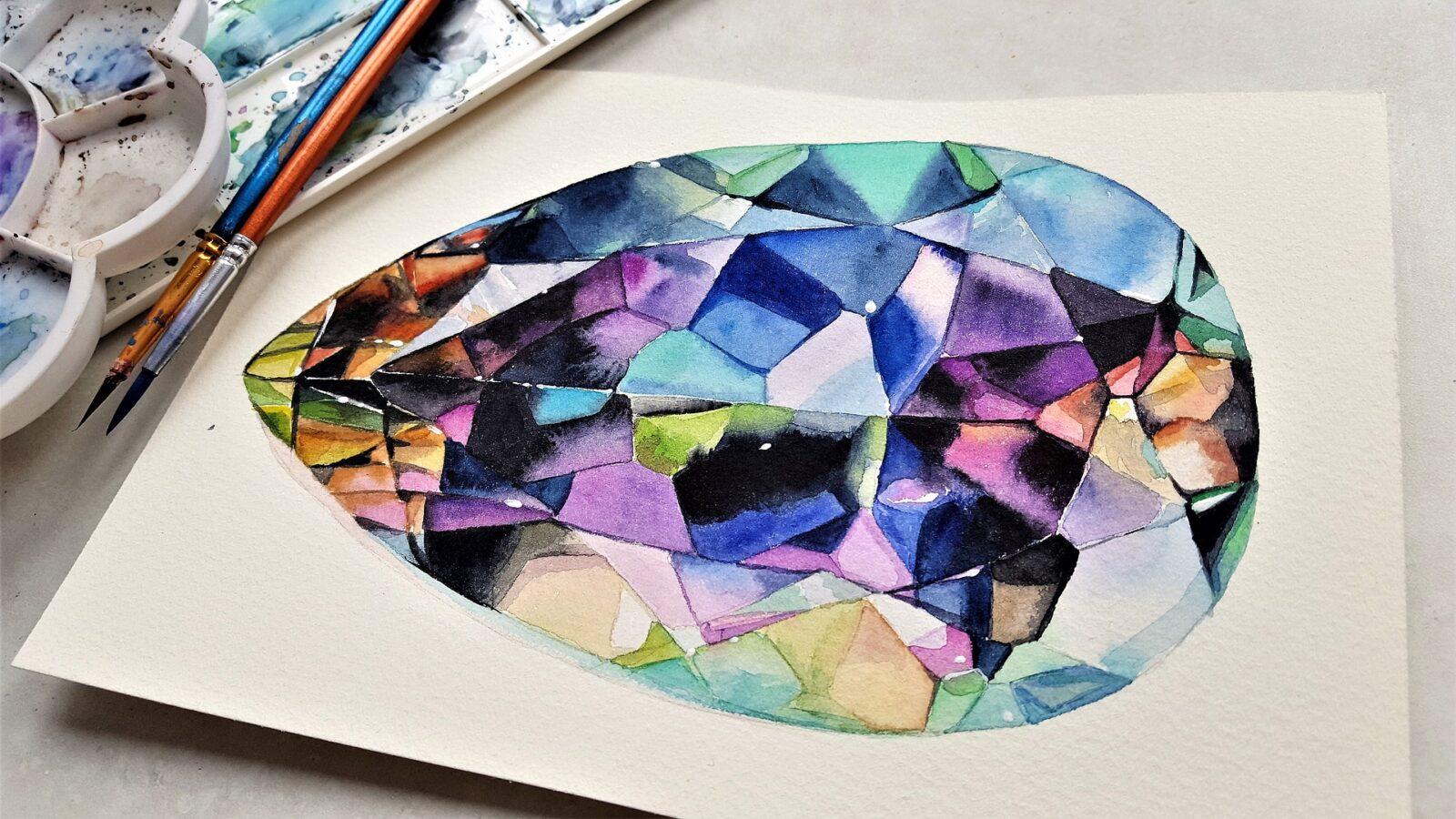 pierres précieuse et semi-précieuses : peinture d'une pierre gemme mutlicolore