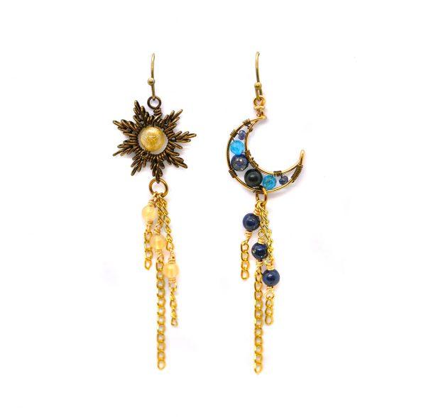 """Boucles d'oreilles Wire wrapping - Artisanat français - Boucles """"Nos deux Astres"""", inspirées du Soleil et de la Lune"""
